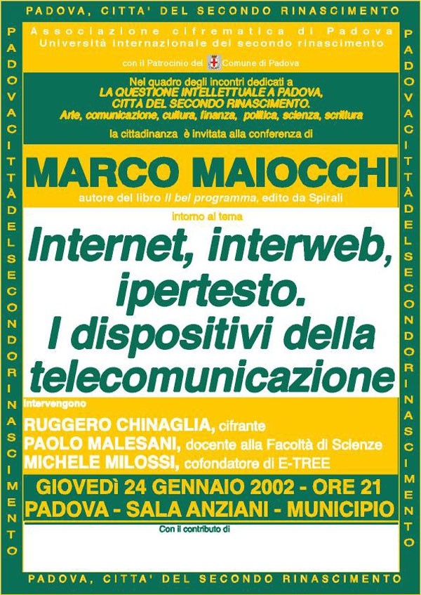 Internet, interweb, ipertesto. I dispositivi della telecomunicazione